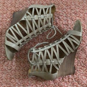 Nine West Caged Lace-Up Wedge Heels
